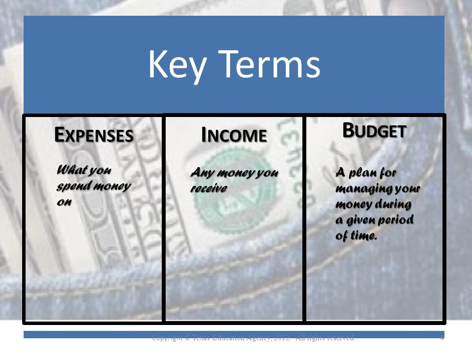 Key Terms E XPENSES I NCOME B UDGET What you spend money on Any money you receive A plan for managing your money during a given period of time.