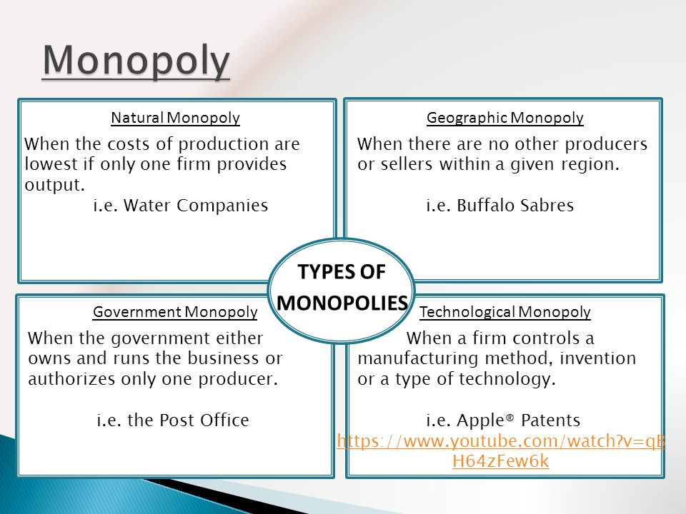the example of monopoly firm Examples of monopoly firms 23 aug 2011 leave a comment example 2: this monopoly is the united states central bank, more commonly known as the federal reserve system the law forces american people into using only one medium of exchange, which is the federal reserve system.