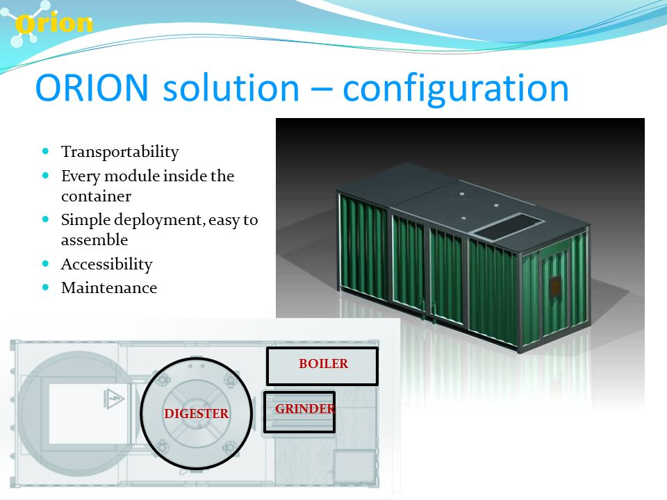ORION solution – configuration Transportability Every module inside the container Simple deployment, easy to assemble Accessibility Maintenance DIGESTER BOILER GRINDER DIGESTER BOILER GRINDER