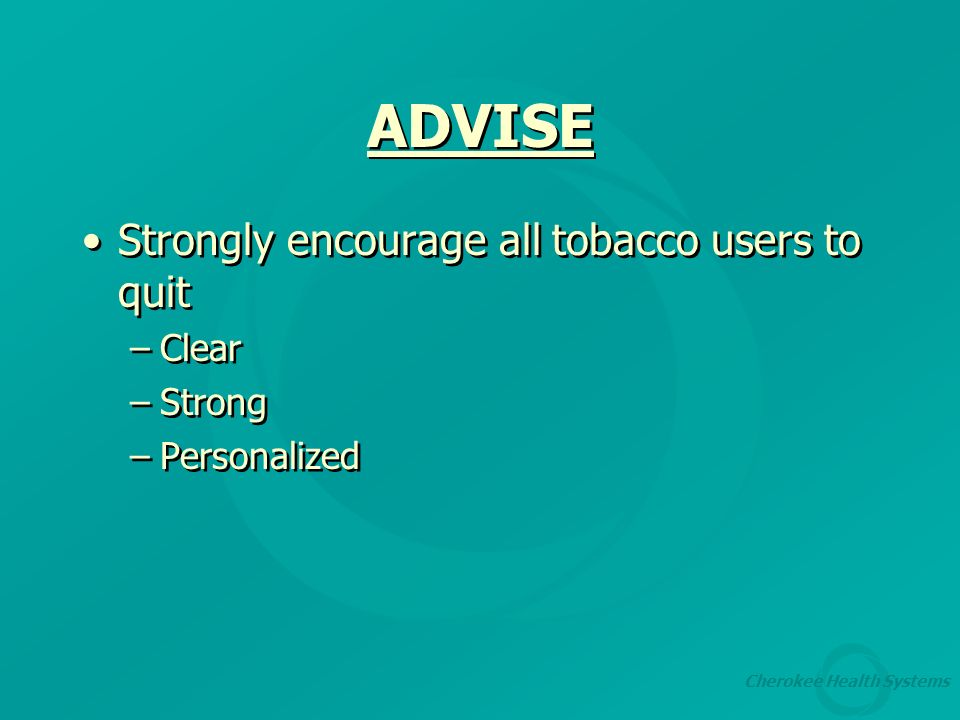 Cherokee Health Systems Encouraging Tobacco Cessation Through The