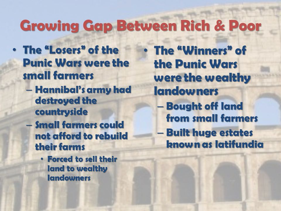 Growing Gap Between Rich & Poor The Losers of the Punic Wars were the small farmers The Losers of the Punic Wars were the small farmers – Hannibal's army had destroyed the countryside – Small farmers could not afford to rebuild their farms Forced to sell their land to wealthy landowners Forced to sell their land to wealthy landowners The Winners of the Punic Wars were the wealthy landowners – Bought off land from small farmers – Built huge estates known as latifundia