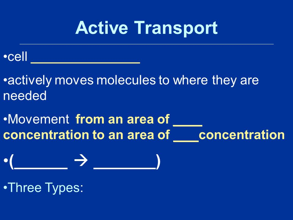 Active Transport cell _______________ actively moves molecules to where they are needed Movement from an area of ____ concentration to an area of ___ concentration (______  _______) Three Types: