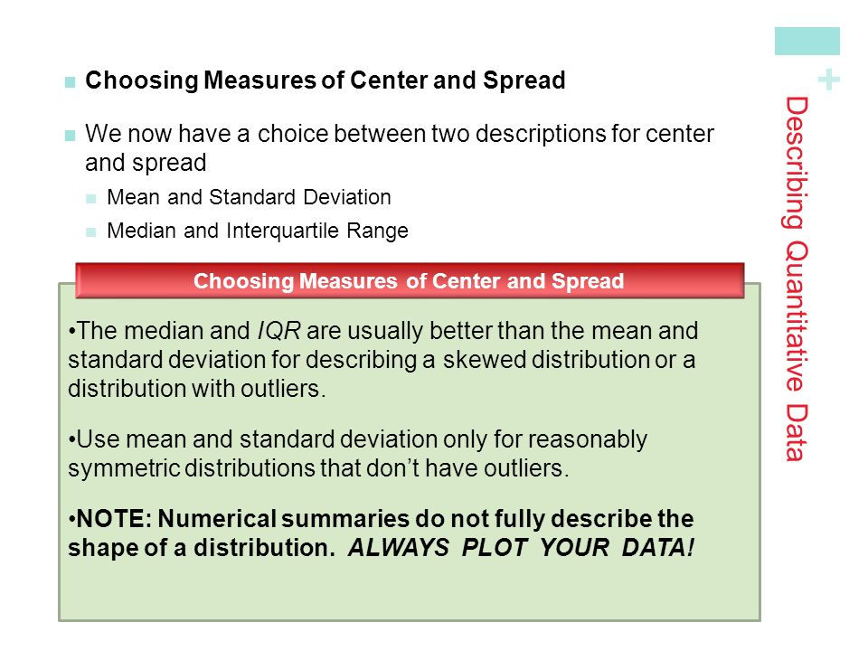 + Choosing Measures of Center and Spread We now have a choice between two descriptions for centerand spread Mean and Standard Deviation Median and Interquartile Range The median and IQR are usually better than the mean and standard deviation for describing a skewed distribution or a distribution with outliers.