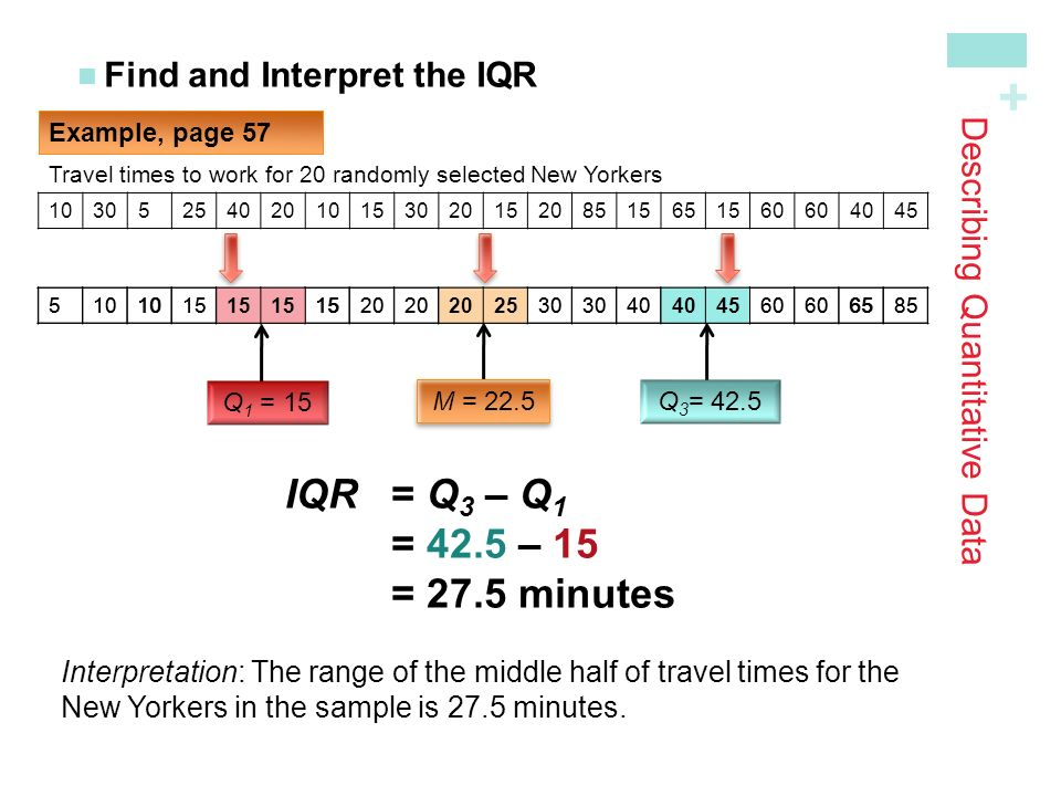 Describing Quantitative Data Find and Interpret the IQR Example, page Travel times to work for 20 randomly selected New Yorkers M = 22.5 Q 3 = 42.5 Q 1 = 15 IQR= Q 3 – Q 1 = 42.5 – 15 = 27.5 minutes Interpretation: The range of the middle half of travel times for the New Yorkers in the sample is 27.5 minutes.