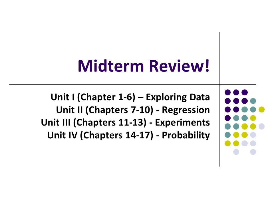 Midterm Review Unit I Chapter 1 6 Exploring Data Unit Ii