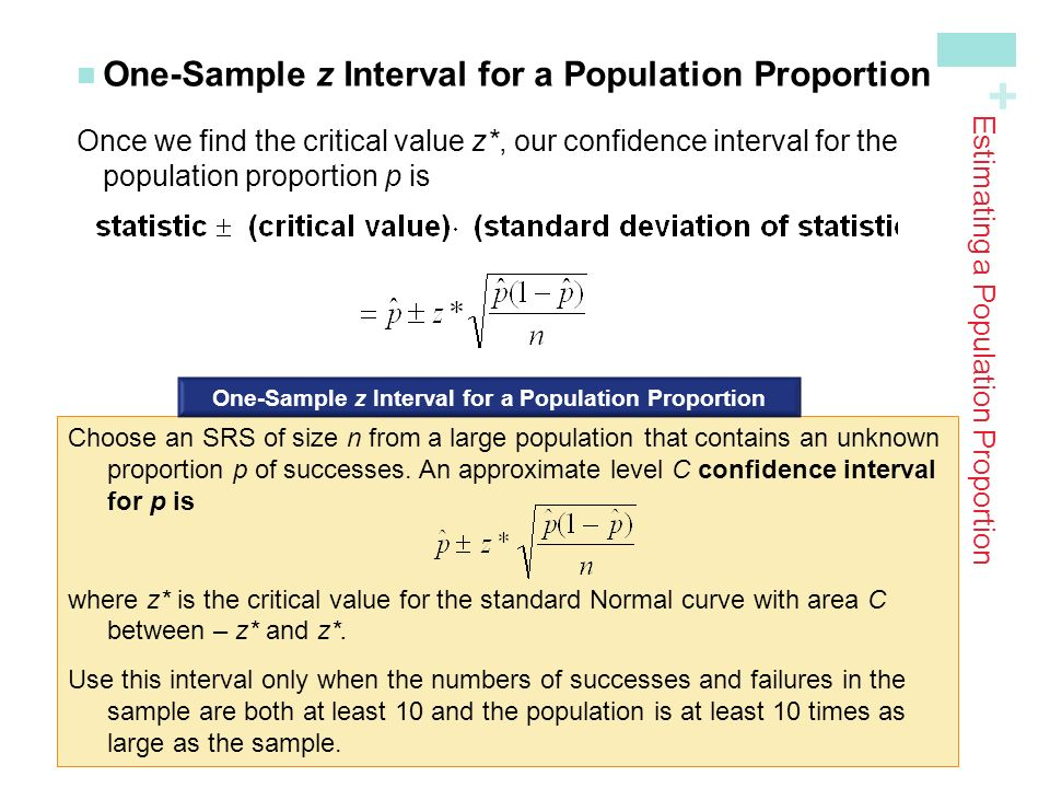 + One-Sample z Interval for a Population Proportion Once we find the critical value z*, our confidence interval for the population proportion p is Estimating a Population Proportion Choose an SRS of size n from a large population that contains an unknown proportion p of successes.