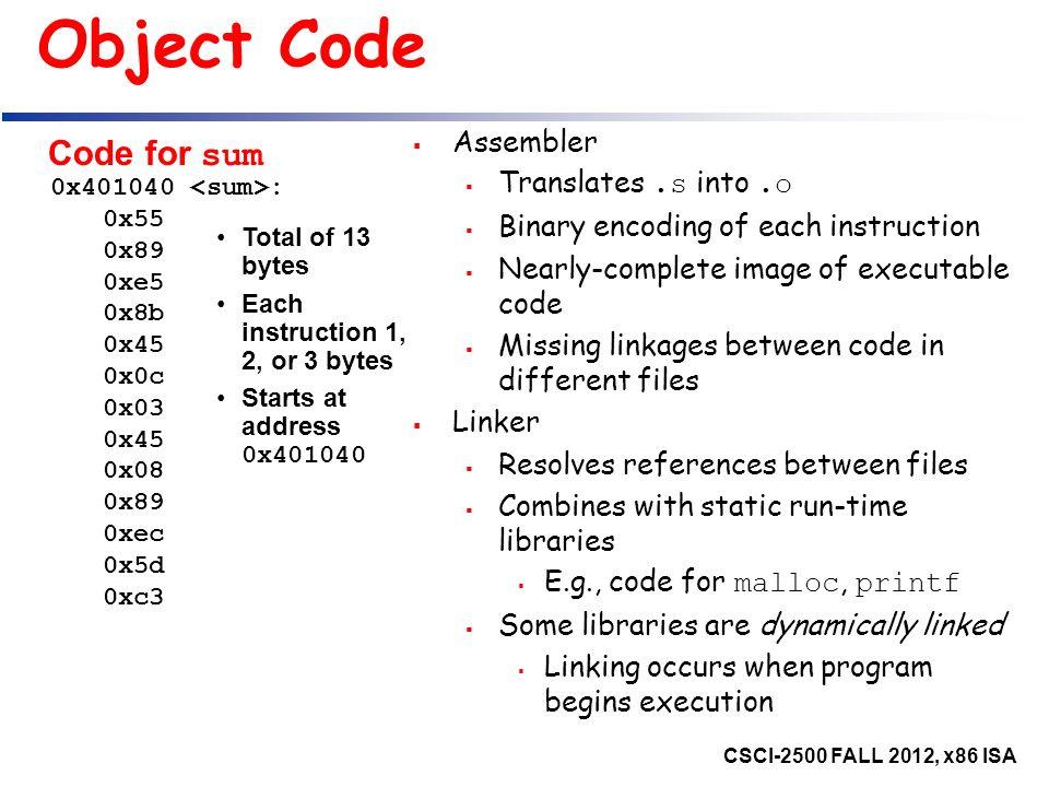 CSCI-2500: Computer Organization Intel X86 Assembly Language