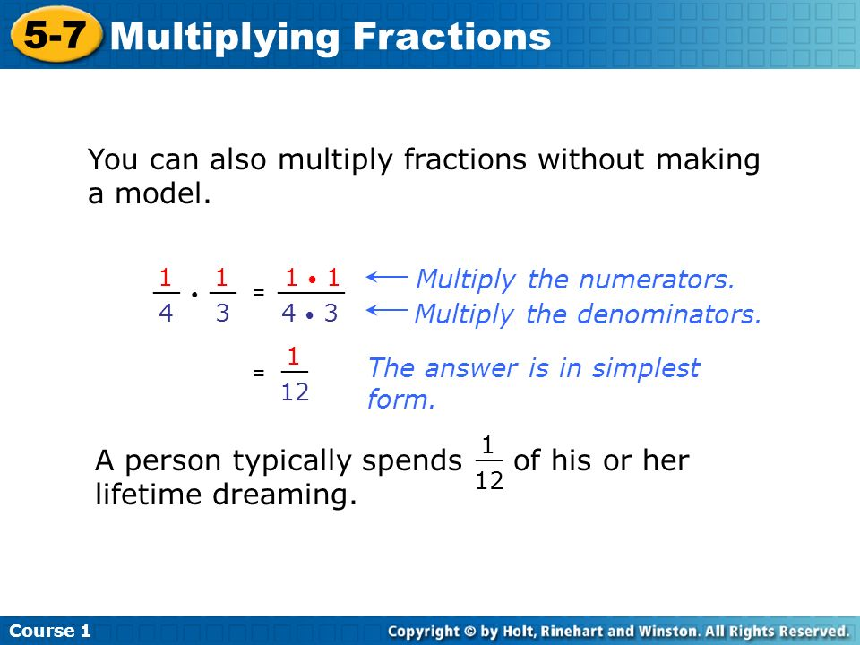 Course Multiplying Fractions 5-7 Multiplying Fractions Course 1 Warm