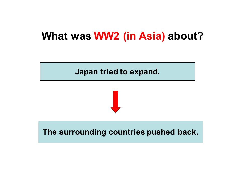What was WW2 (in Asia) about Japan tried to expand. The surrounding countries pushed back.
