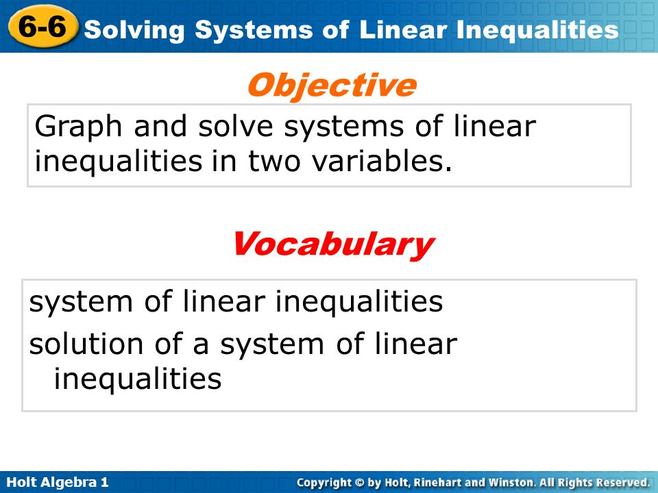 Holt Algebra Solving Systems Of Linear Inequalities Graph And Solve. Holt Algebra 1 66 Solving Systems Of Linear Inequalities Graph And Solve. Worksheet. Graphing Inequalities In Two Variables Worksheet 6 6 Answers At Mspartners.co