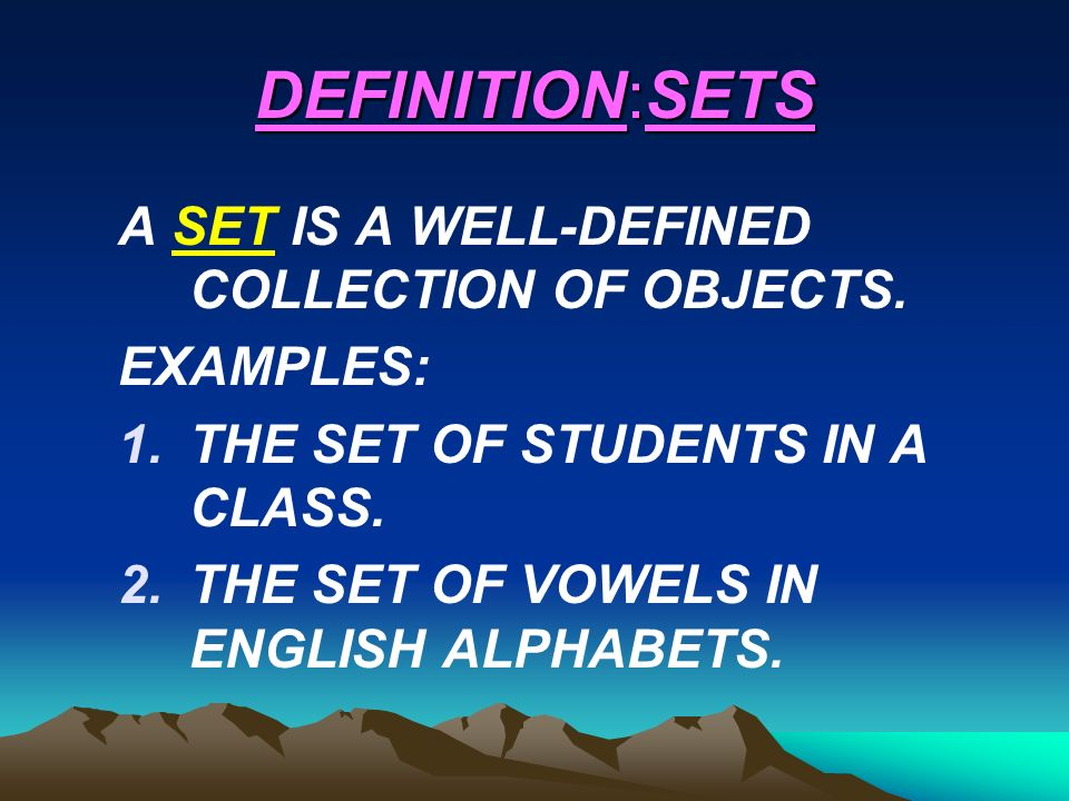 Definitionsets a set is a well defined collection of objects 2 definitionsets a set is a well defined collection of objects examples 1e set of students in a class 2e set of vowels in english alphabets altavistaventures Image collections