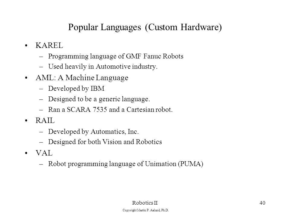 Robotics II Copyright Martin P  Aalund, Ph D  1 Trajectory