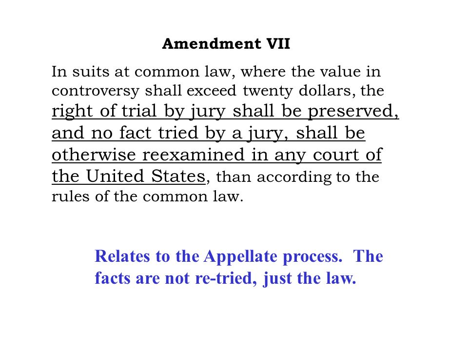 Amendment VI In all criminal prosecutions, the accused shall enjoy the right to a speedy and public trial, by an impartial jury of the state and district wherein the crime shall have been committed, which district shall have been previously ascertained by law, and to be informed of the nature and cause of the accusation; to be confronted with the witnesses against him; to have compulsory process for obtaining witnesses in his favor, and to have the assistance of counsel for his defense.