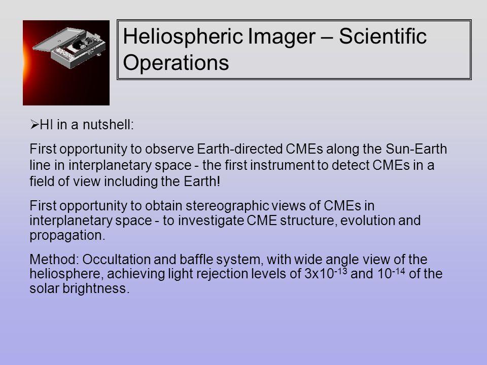Heliospheric Imager – Scientific Operations  HI Operations