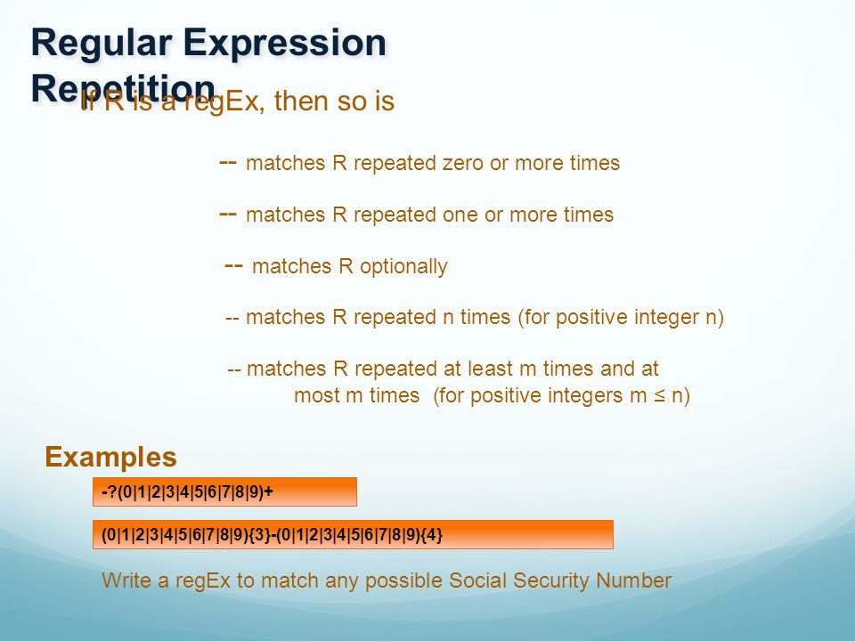 Regular Expressions Regular expressions are a language for