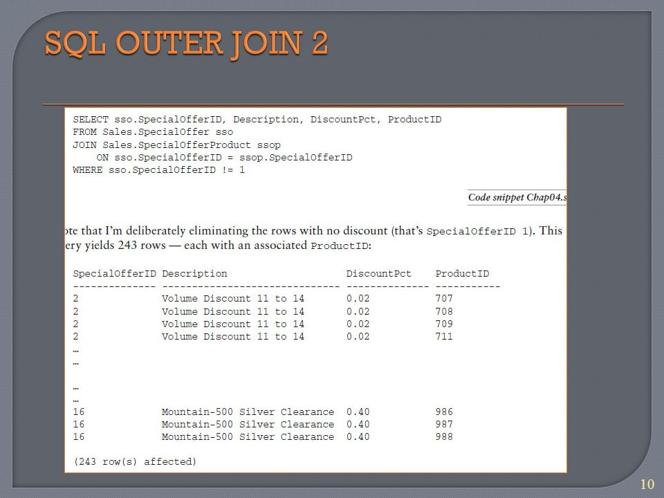 1 Intro to JOINs SQL INNER JOIN SQL OUTER JOIN SQL FULL JOIN