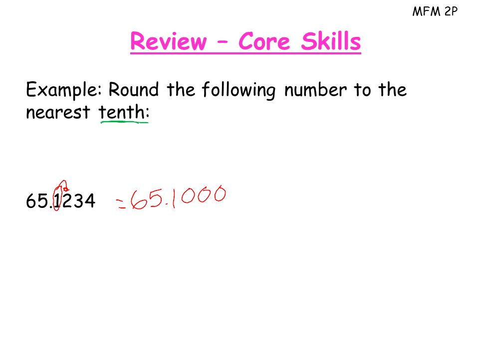MFM 2P Review – Core Skills Example: Round the following number to the nearest tenth: