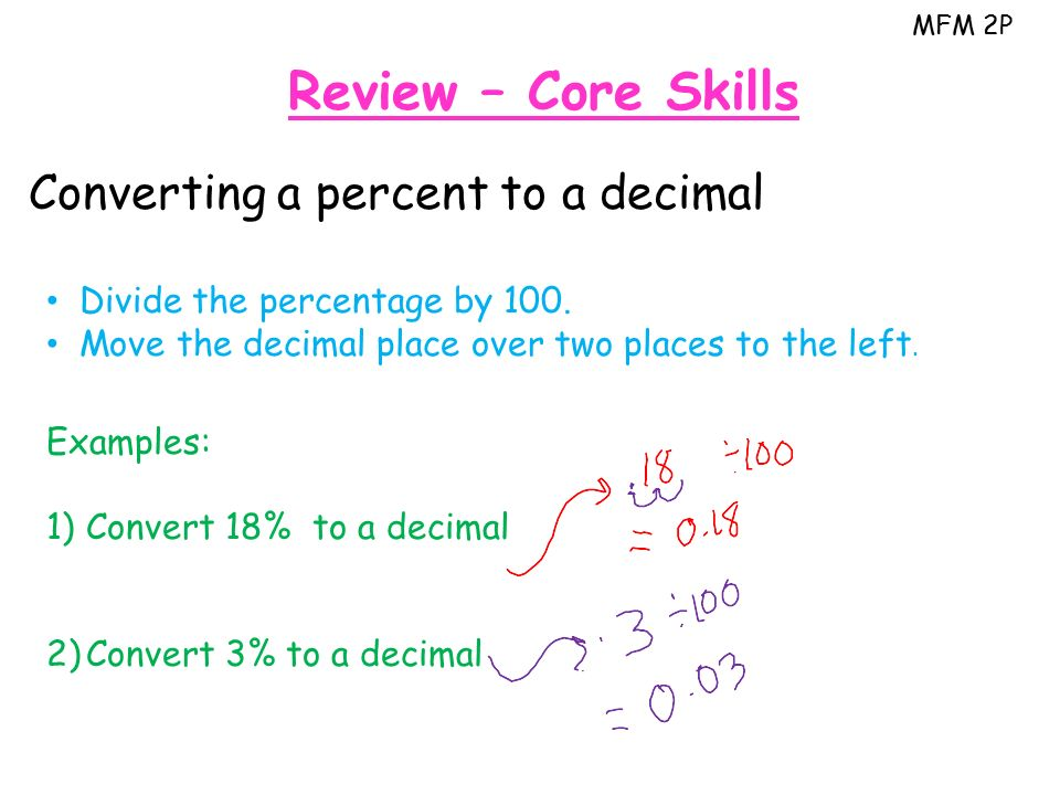 MFM 2P Review – Core Skills Converting a percent to a decimal Divide the percentage by 100.