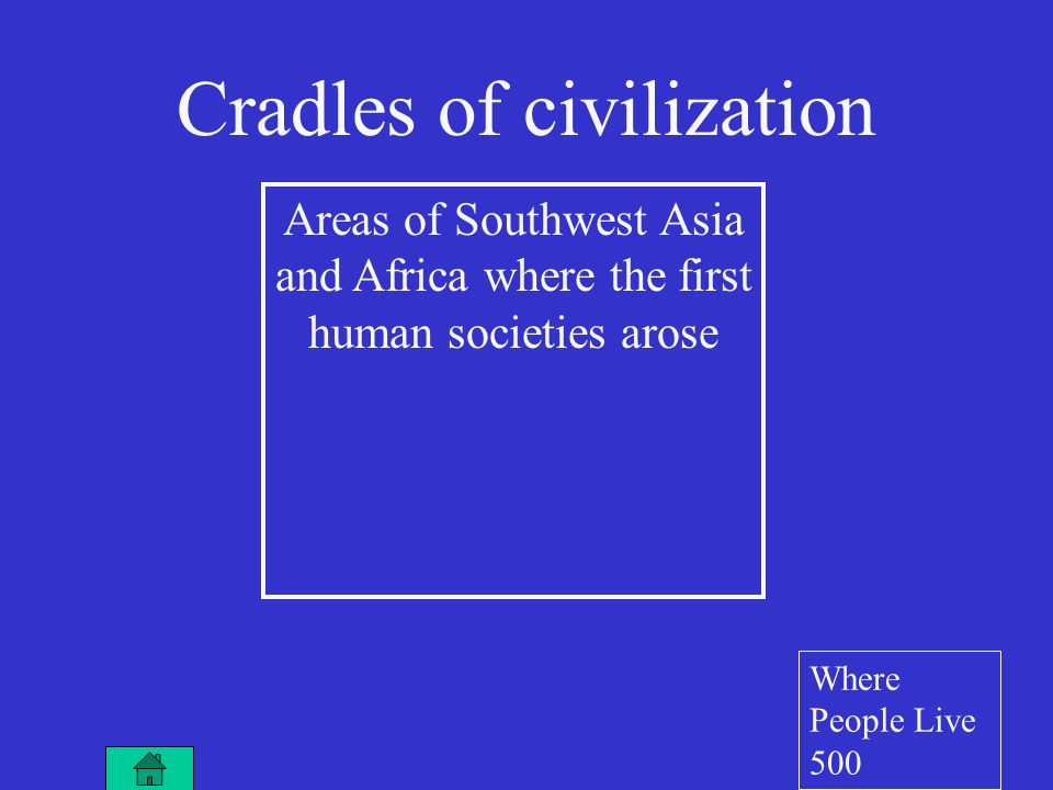 Areas of Southwest Asia and Africa where the first human societies arose Cradles of civilization Where People Live 500