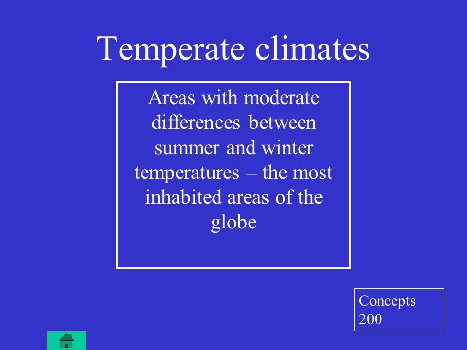 Temperate climates Areas with moderate differences between summer and winter temperatures – the most inhabited areas of the globe Concepts 200