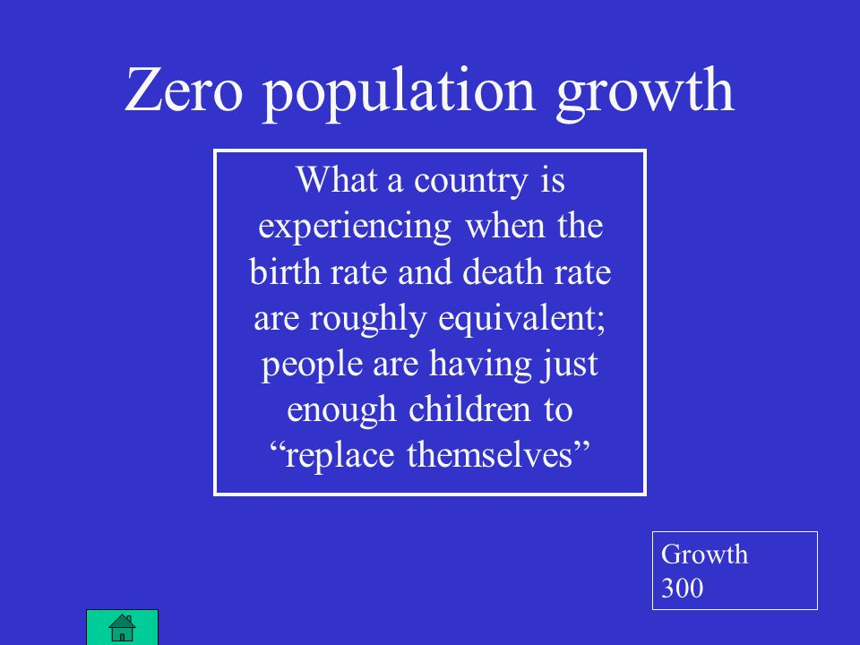 Zero population growth What a country is experiencing when the birth rate and death rate are roughly equivalent; people are having just enough children to replace themselves Growth 300