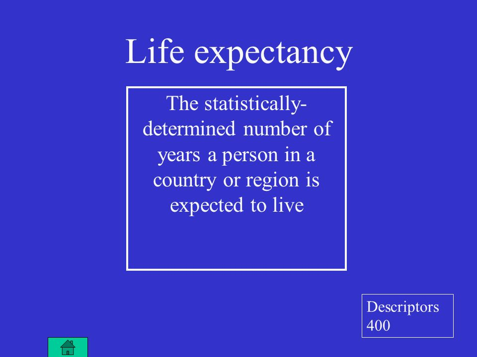 Life expectancy The statistically- determined number of years a person in a country or region is expected to live Descriptors 400