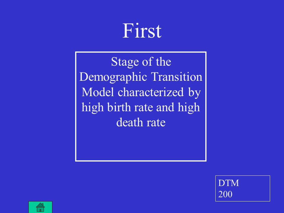 Stage of the Demographic Transition Model characterized by high birth rate and high death rate First DTM 200