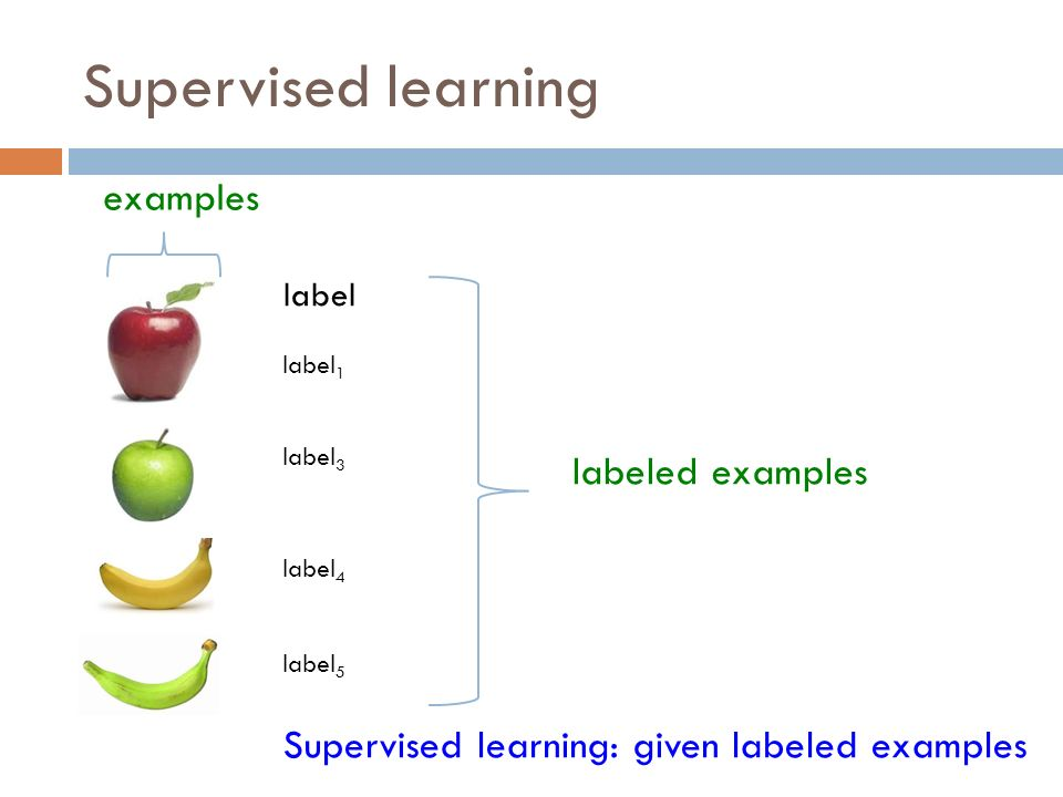Supervised learning Supervised learning: given labeled examples label label 1 label 3 label 4 label 5 labeled examples examples