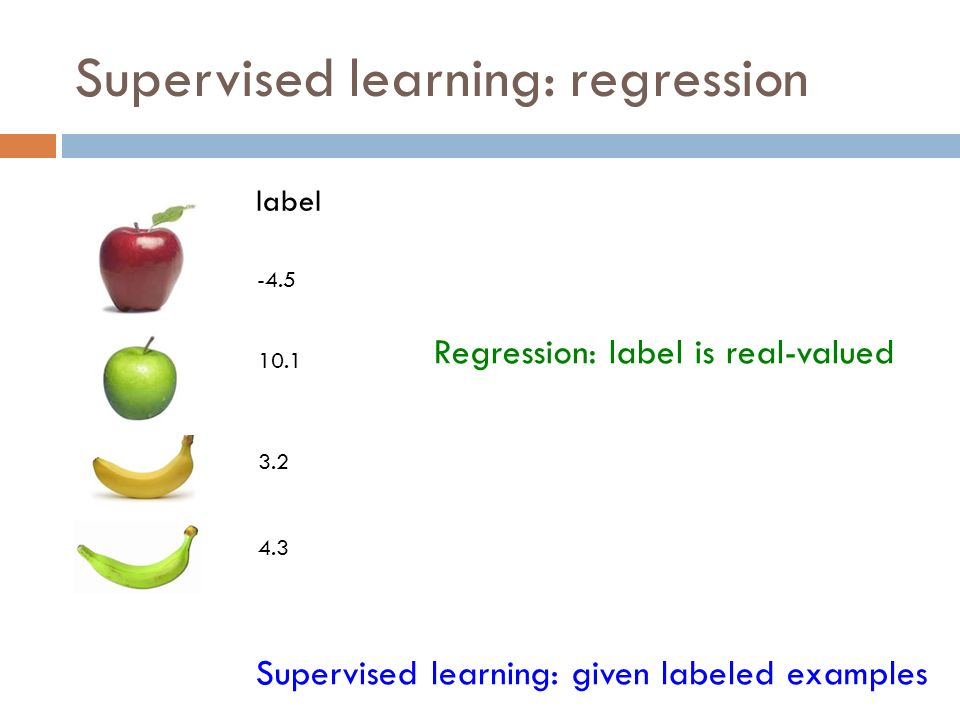 Supervised learning: regression Supervised learning: given labeled examples label -4.5 10.1 3.2 4.3 Regression: label is real-valued