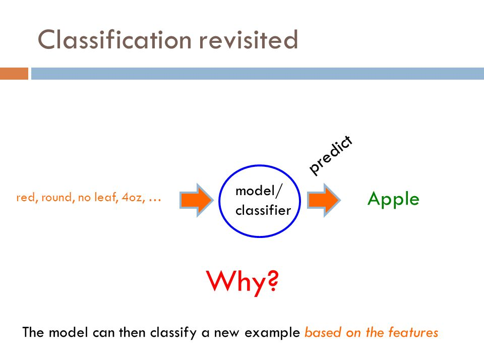 Classification revisited red, round, no leaf, 4oz, … model/ classifier The model can then classify a new example based on the features predict Apple Why