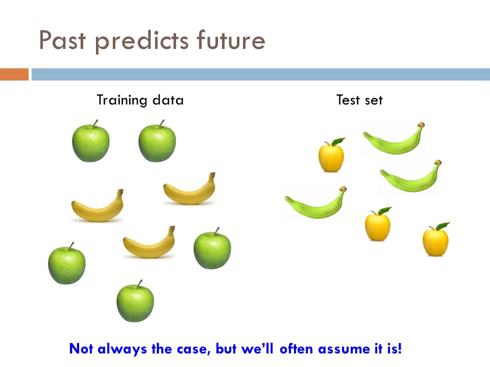Past predicts future Training dataTest set Not always the case, but we'll often assume it is!