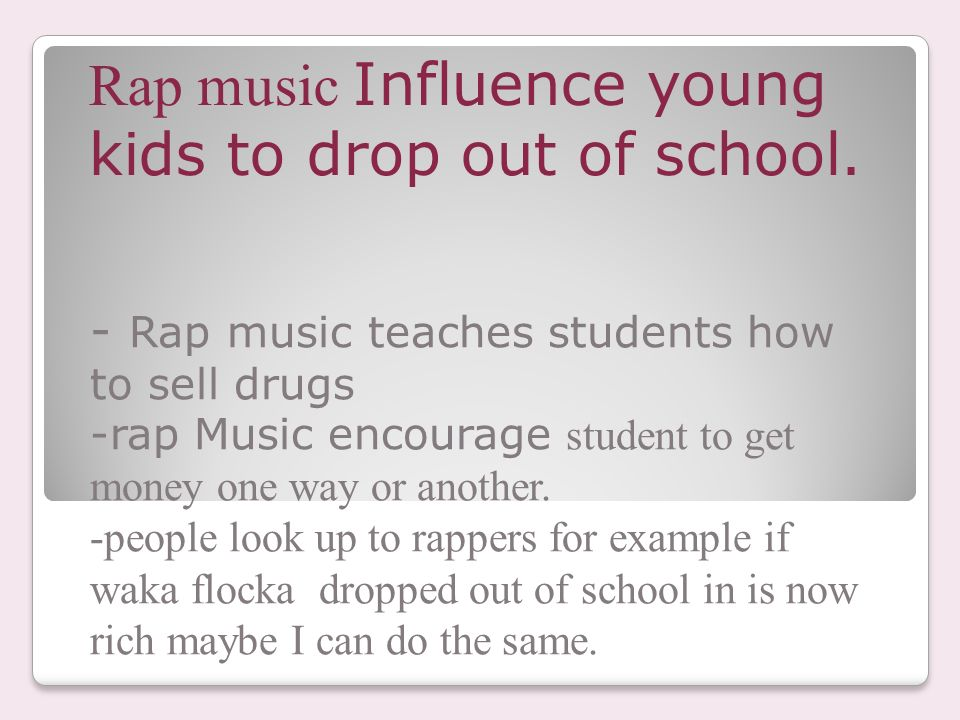 Lyric rap songs about money lyrics : DOES RAP MUSIC AFFECT OUR SOCIETY? JOHNNITA LANE PERIOD 7TH. - ppt ...