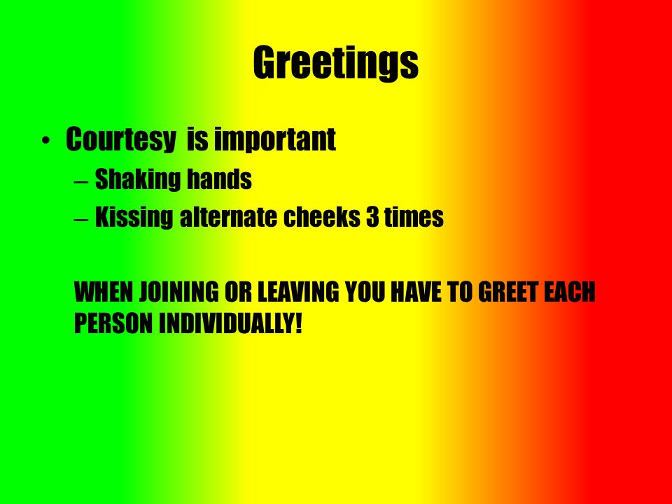 Senegal customs courtesies greetings gestures visitingvisiting 2 greetings courtesy is important shaking hands kissing alternate cheeks 3 times when joining or leaving you have to greet each person individually m4hsunfo