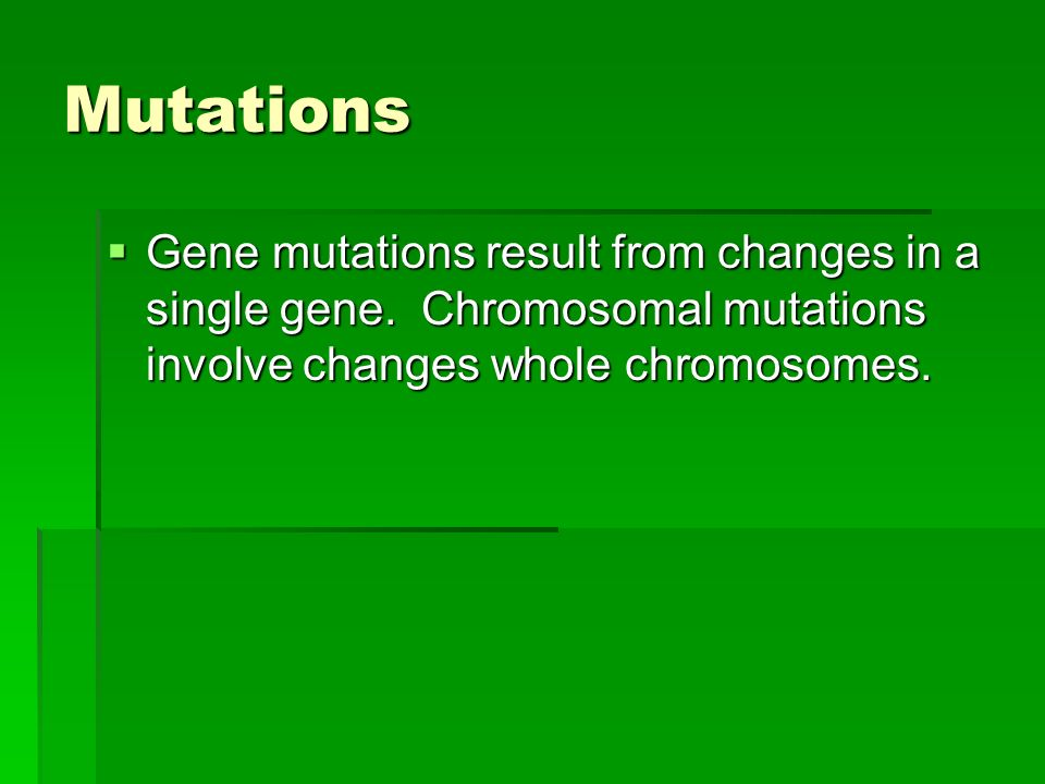 Mutations  Gene mutations result from changes in a single gene.