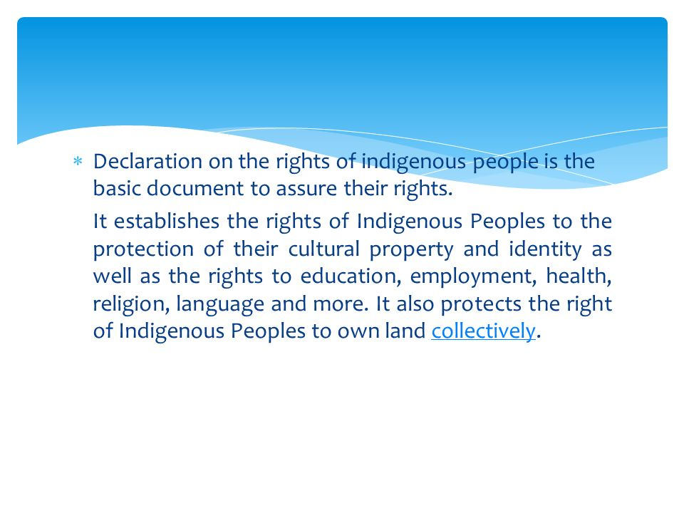  Declaration on the rights of indigenous people is the basic document to assure their rights.