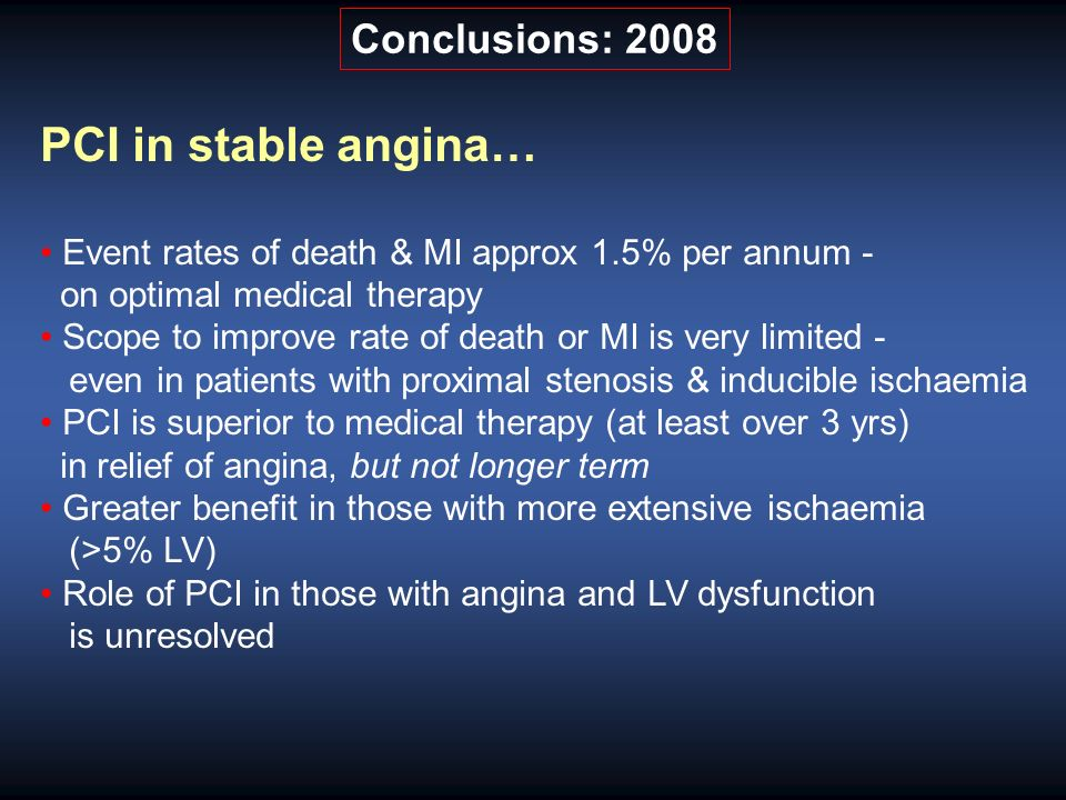 PCI in stable angina… Event rates of death & MI approx 1.5% per annum - on optimal medical therapy Scope to improve rate of death or MI is very limited - even in patients with proximal stenosis & inducible ischaemia PCI is superior to medical therapy (at least over 3 yrs) in relief of angina, but not longer term Greater benefit in those with more extensive ischaemia (>5% LV) Role of PCI in those with angina and LV dysfunction is unresolved Conclusions: 2008