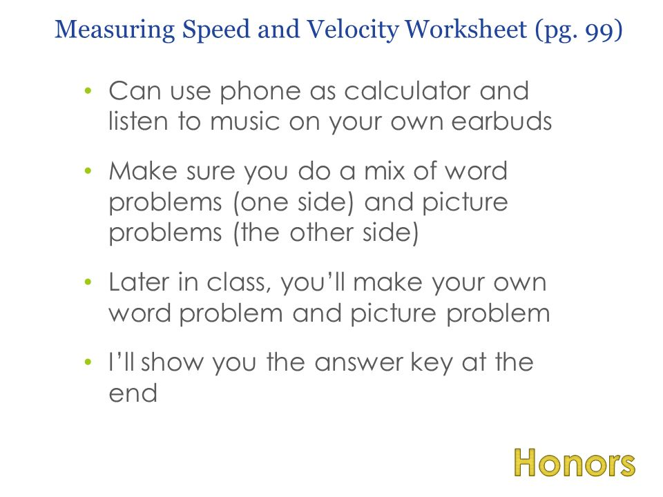 8 can - Speed And Velocity Worksheet