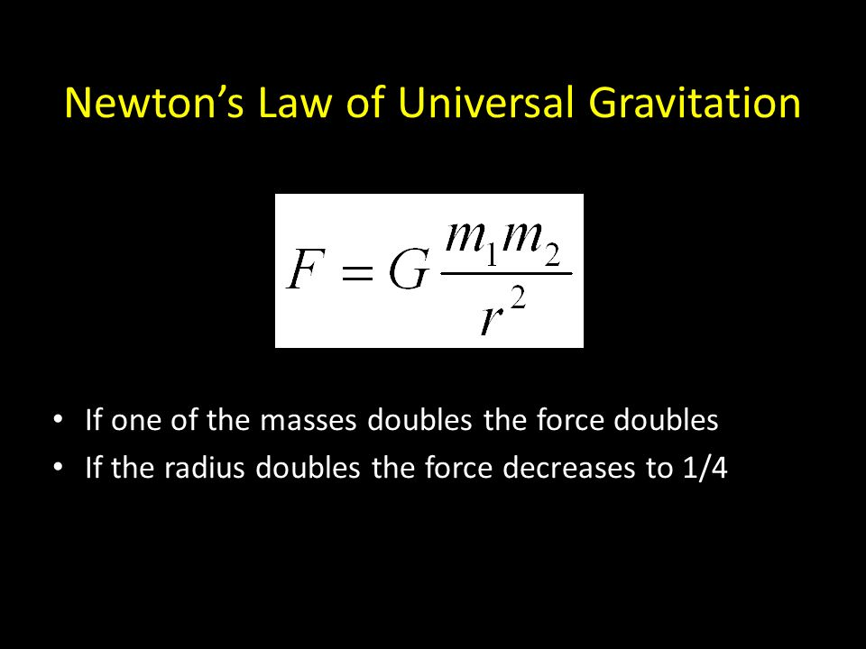 Newton's Law of Universal Gravitation If one of the masses doubles the force doubles If the radius doubles the force decreases to 1/4
