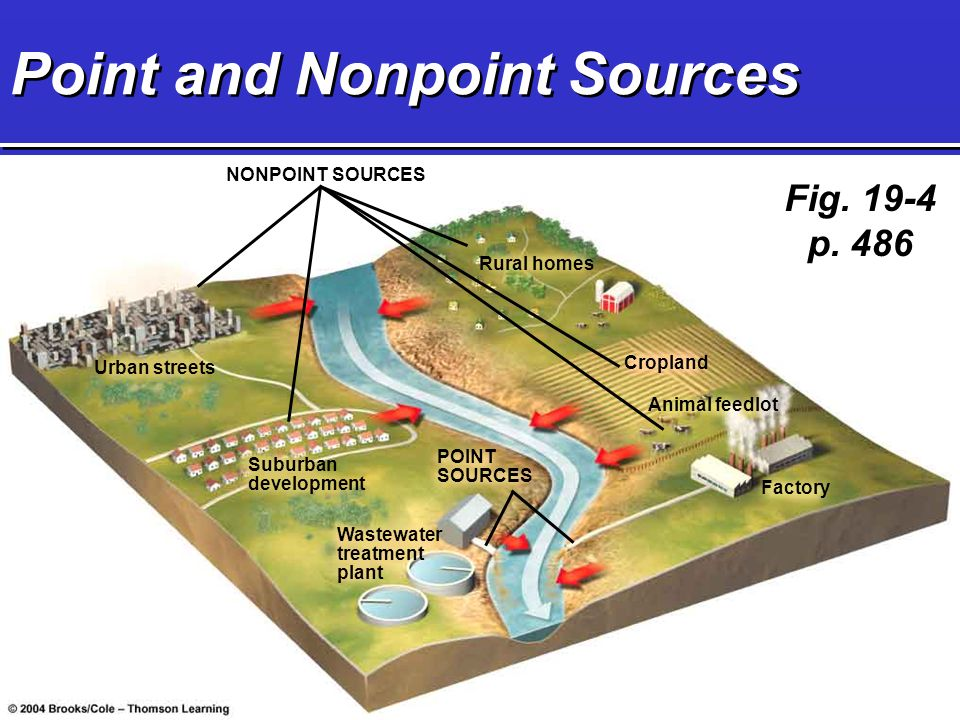 Point and Nonpoint Sources NONPOINT SOURCES Urban streets Suburban development Wastewater treatment plant Rural homes Cropland Factory Animal feedlot POINT SOURCES Fig.