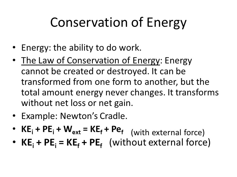 Conservation Of Energy Machines Conservation Of Energy Energy
