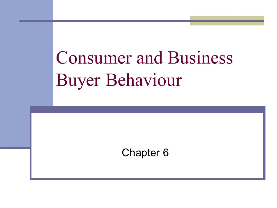 Consumer and Business Buyer Behaviour Chapter 6