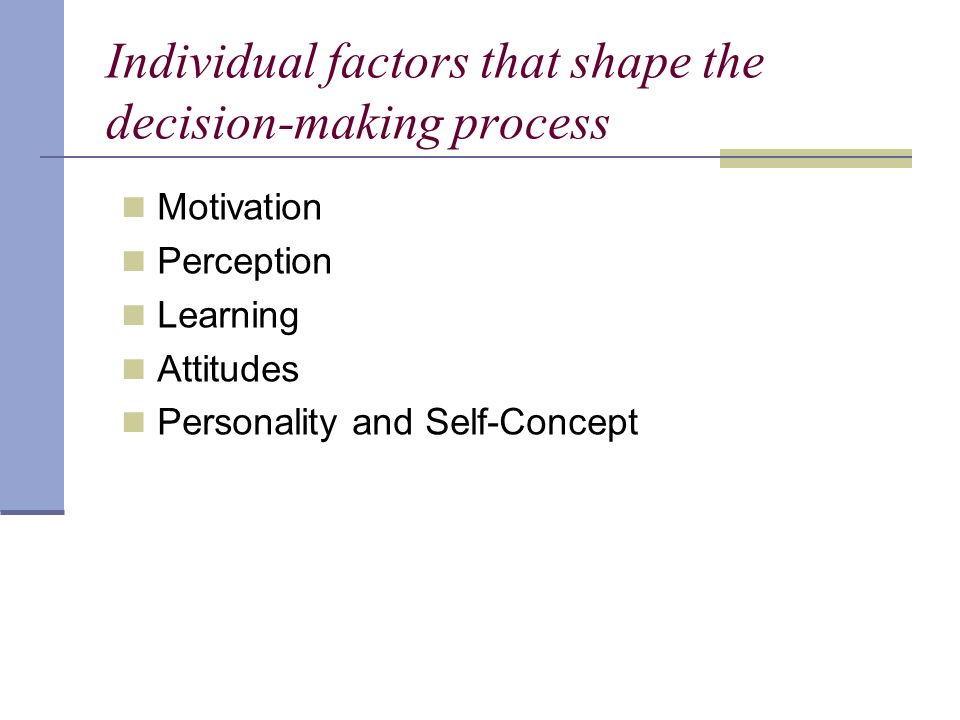Individual factors that shape the decision-making process Motivation Perception Learning Attitudes Personality and Self-Concept