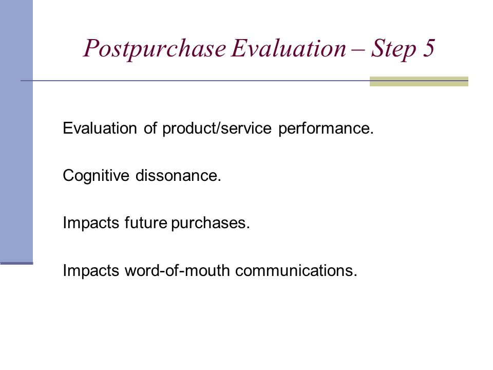 Postpurchase Evaluation – Step 5 Evaluation of product/service performance.