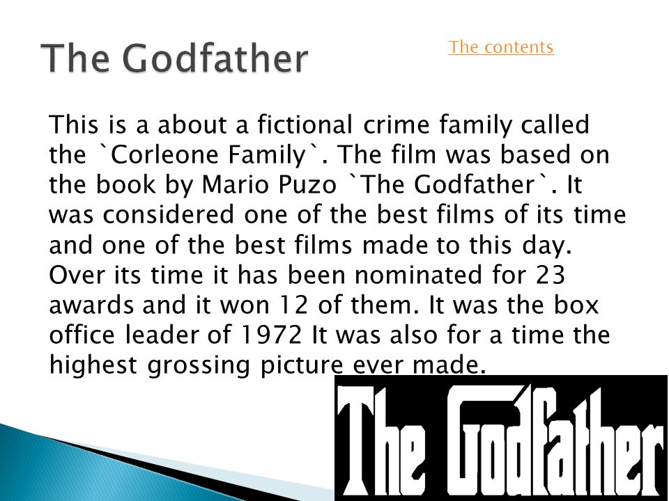 By james cornish the godfatherthe plot the family tree the main this is a about a fictional crime family called the corleone family altavistaventures Gallery