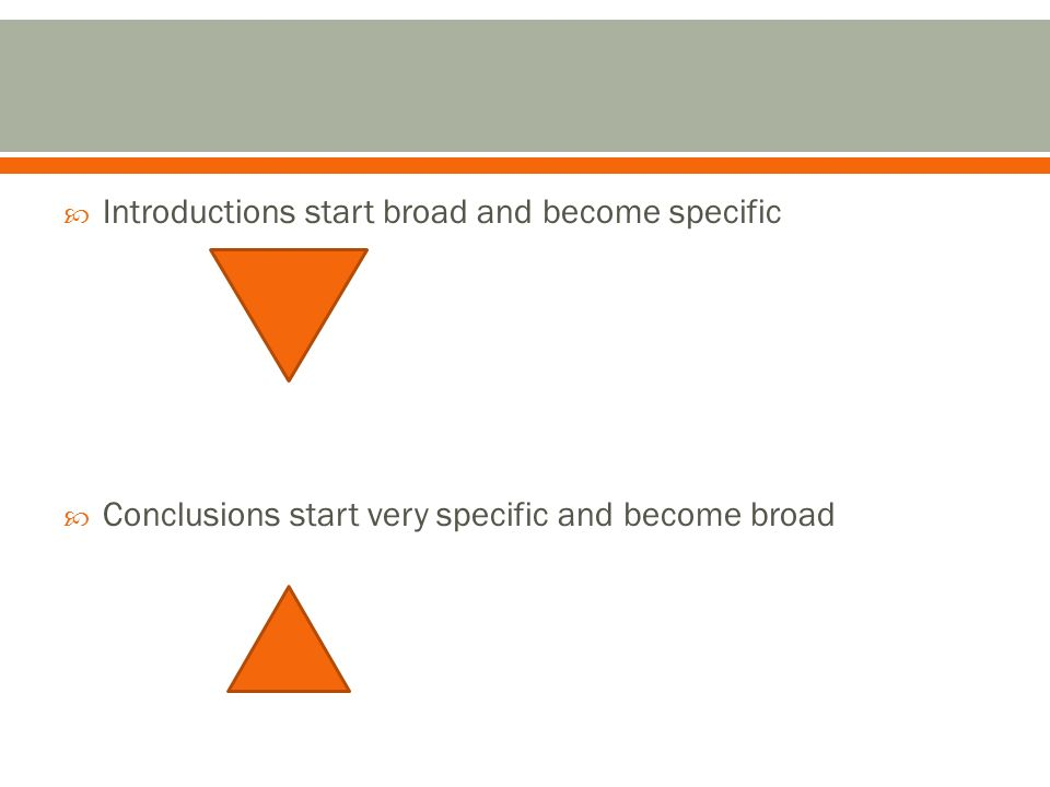  Introductions start broad and become specific  Conclusions start very specific and become broad
