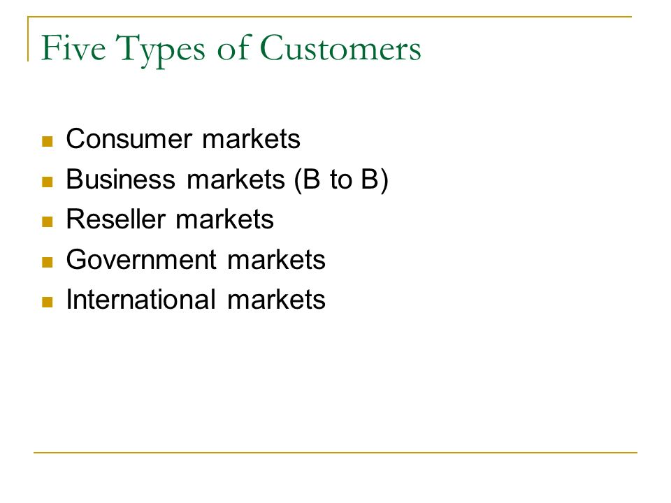 five types of customer markets