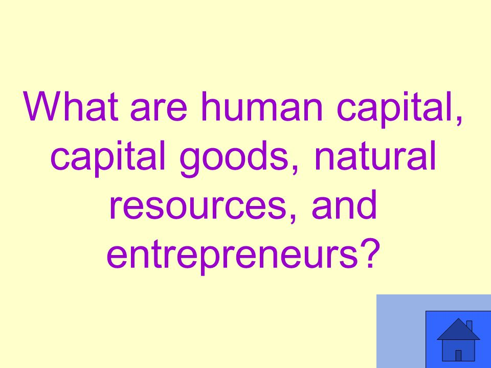 What are human capital, capital goods, natural resources, and entrepreneurs