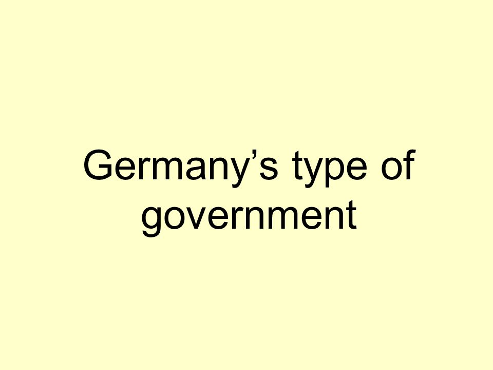 Germany's type of government