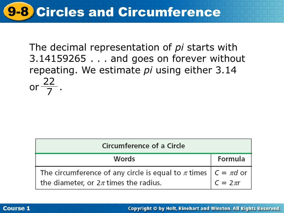The decimal representation of pi starts with