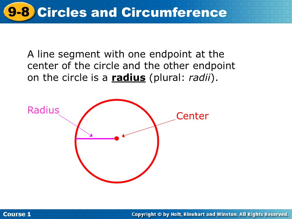 A line segment with one endpoint at the center of the circle and the other endpoint on the circle is a radius (plural: radii).